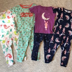 Lots of girls pjs, size 18m, Carter's